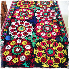 "Suzani Vintage Hand Embroidered Tapestry ""Frangipani Paradise"" - Honorooroo Lifestyle"