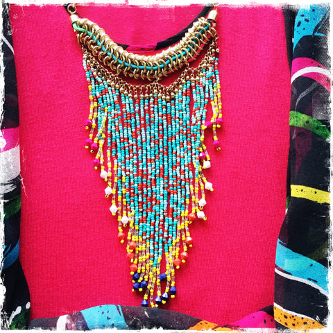 SO CUTE ‼️LAST ONE‼️Fringe Beaded Necklace( Aqua/ Yellow) - Honorooroo Lifestyle