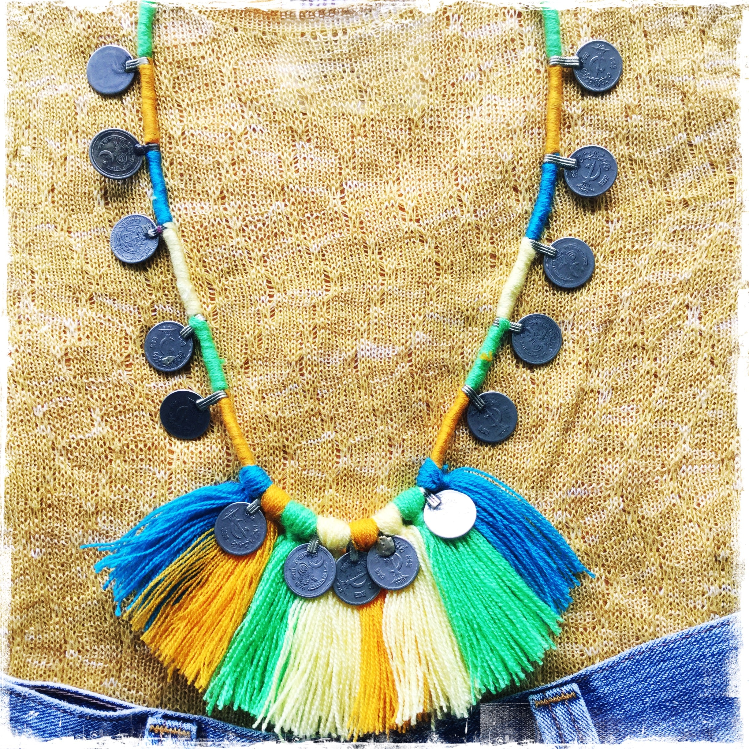 Kuchi Coin Citrus Denim Necklace - Honorooroo Lifestyle