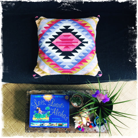 "All New ""Kilim-Inspired"" Pillow ( Medium/Square) - Honorooroo Lifestyle"