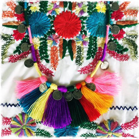 KUCHI COIN MEXICAN Rainbow| Tassel Fringe Necklace - Honorooroo Lifestyle