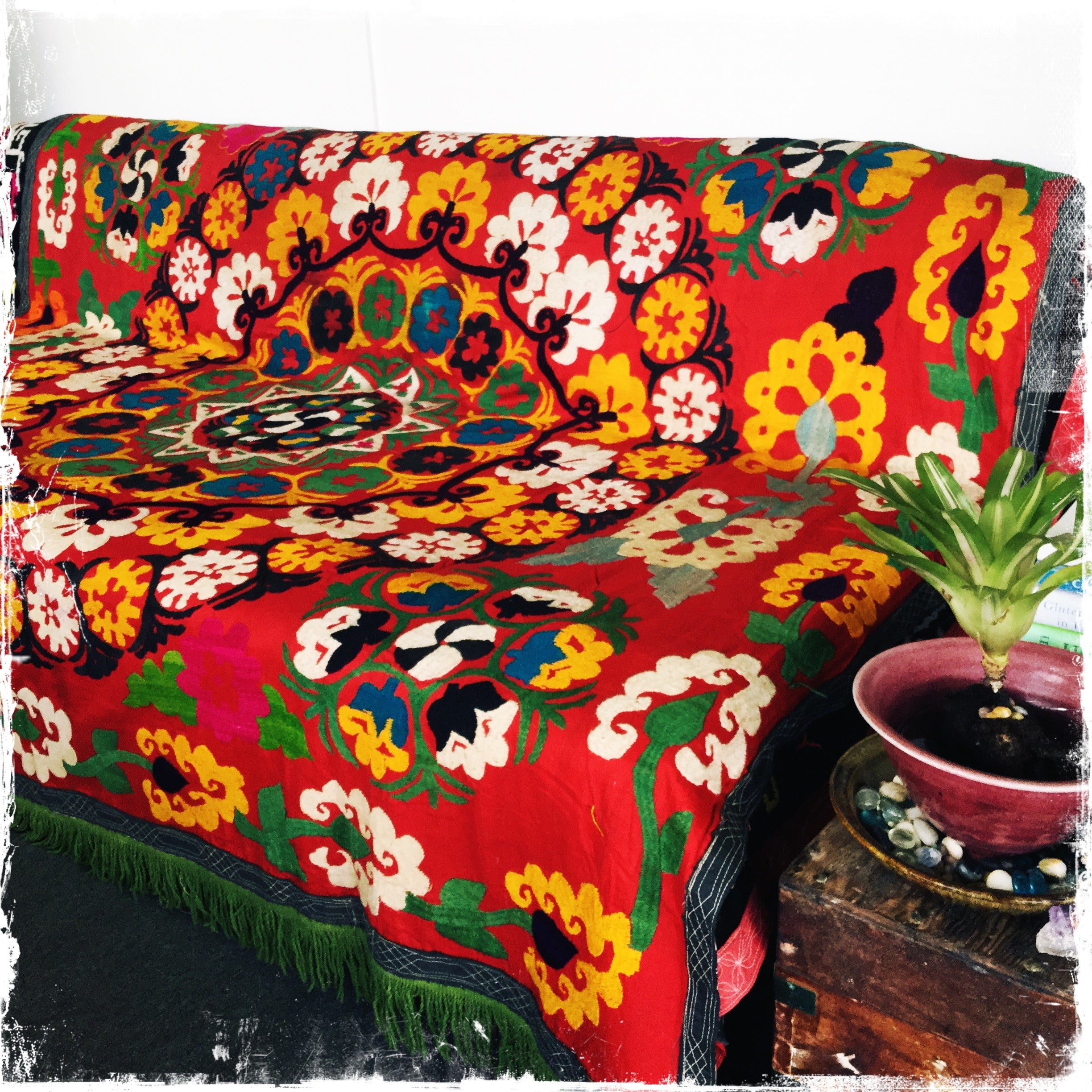 SOLD! Suzani Vintage Hand-Embroidered Textiles for Boho-Chic Decor - Honorooroo Lifestyle