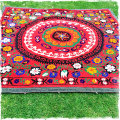 SOLD!!!!!!Suzani Vintage Hand-Embroidered Ethnic Tapestries and Throws - Honorooroo Lifestyle