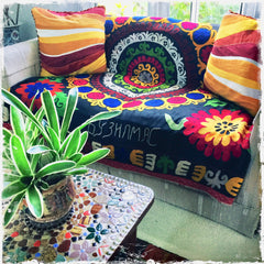 Suzani Vintage Hand-Embroidered Textiles for Boho-Chic Decor