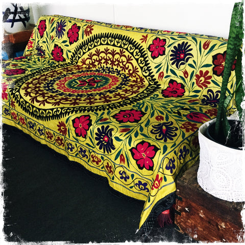 Suzani Textiles, Uzbek Wall Hangings, Ethnic Tapestry, Hand-embroidered Tablecloths and Throws - Honorooroo Lifestyle
