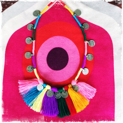 Kuchi Coin Mexican Rainbow Necklace