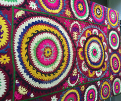 Suzani Vintage Ethnic Wall hangings and Hand-Embroidered Textiles - Honorooroo Lifestyle