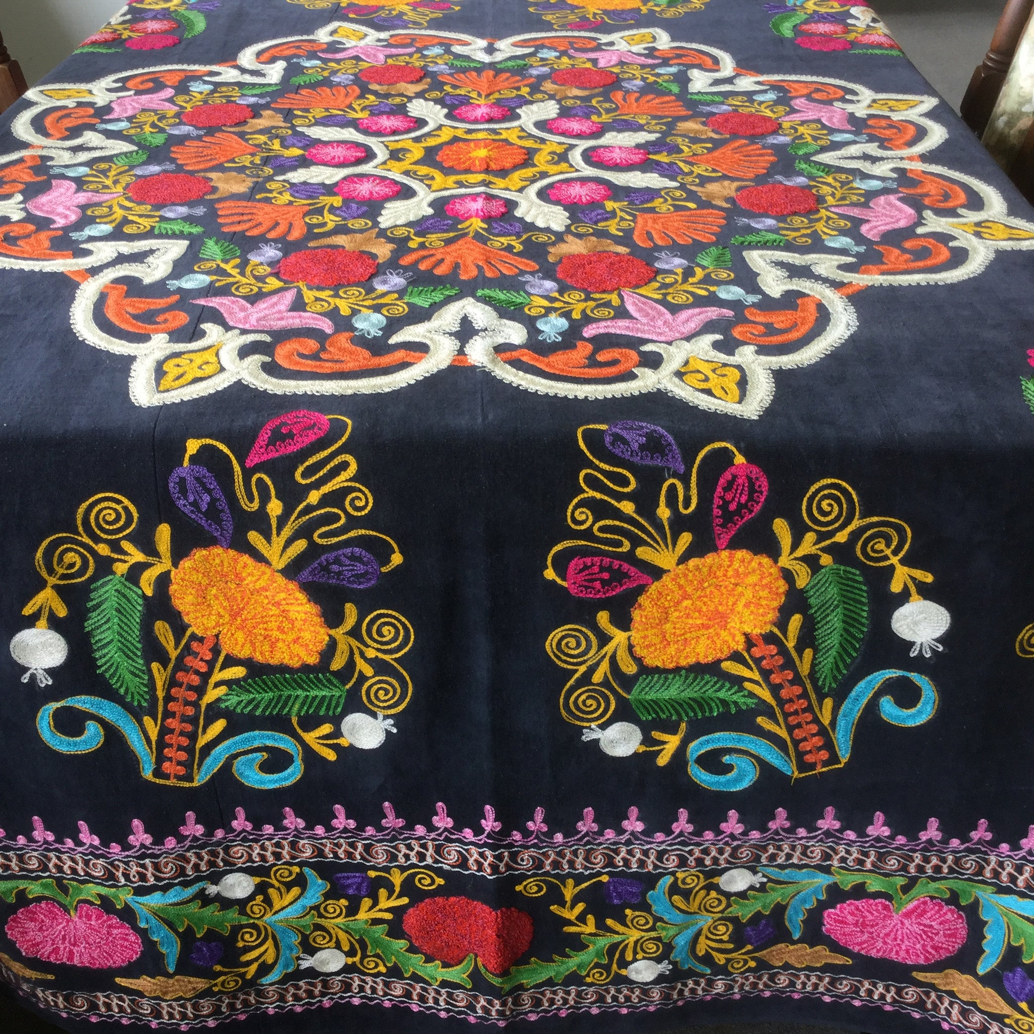 Suzani Velvet Embroidered Bedspread - Honorooroo Lifestyle