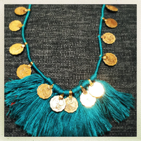 Kuchi Coin Turquoise Necklace - Honorooroo Lifestyle