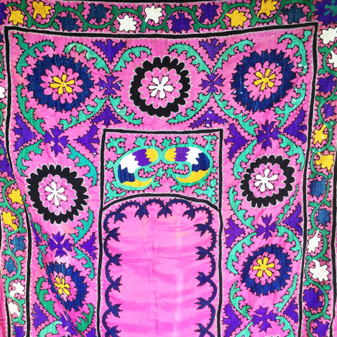 Suzani Boho-Chic Vintage Embroidery Bedspread Textiles - Honorooroo Lifestyle