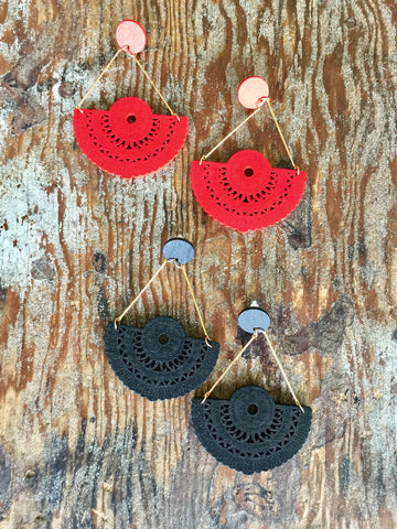 WOOD LASER BOHO Earrings | Red | Black - Honorooroo Lifestyle