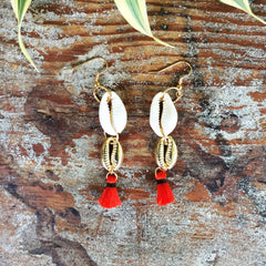 Seashell Tassel Earrings|Cowrie Shell | Red - Honorooroo Lifestyle