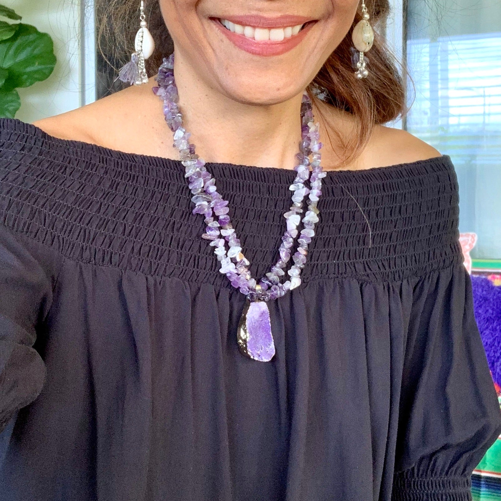 AMETHYST Crystal chip Necklace| One of a kind - Honorooroo Lifestyle