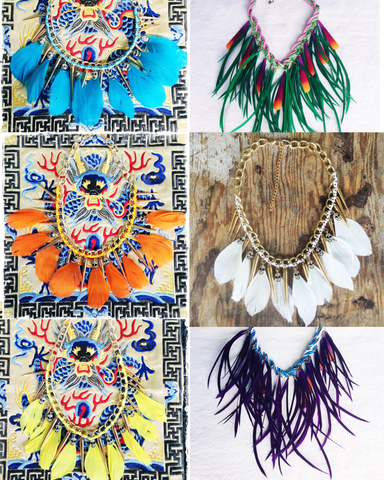 FEATHER BIB NECKLACE |Skulls Metal Spikes - Honorooroo Lifestyle