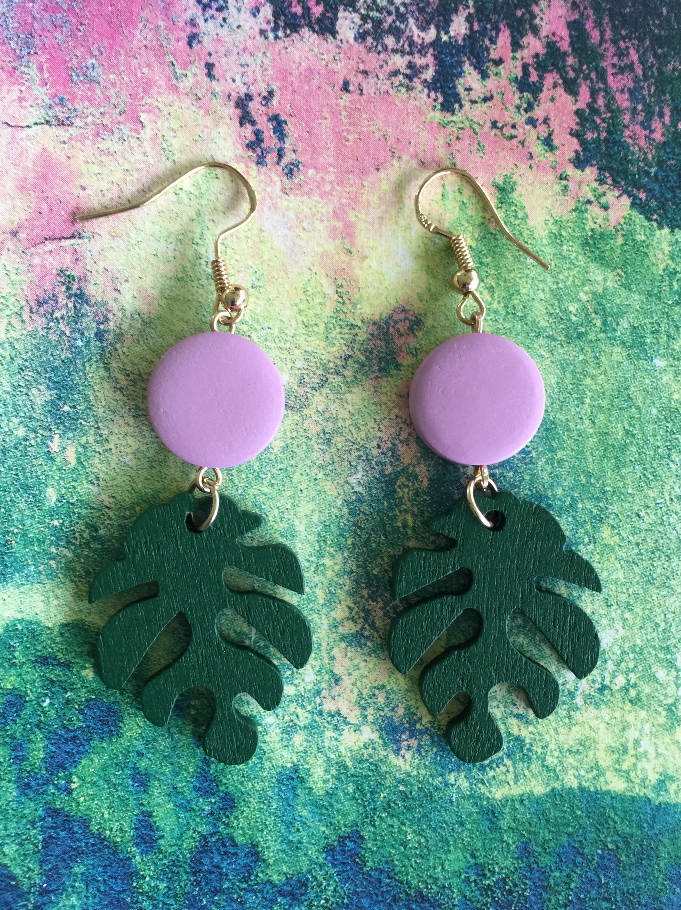 MONSTERA LEAF Wood stud Earrings| Tropical Colors| Pink Mustard & Lavender - Honorooroo Lifestyle