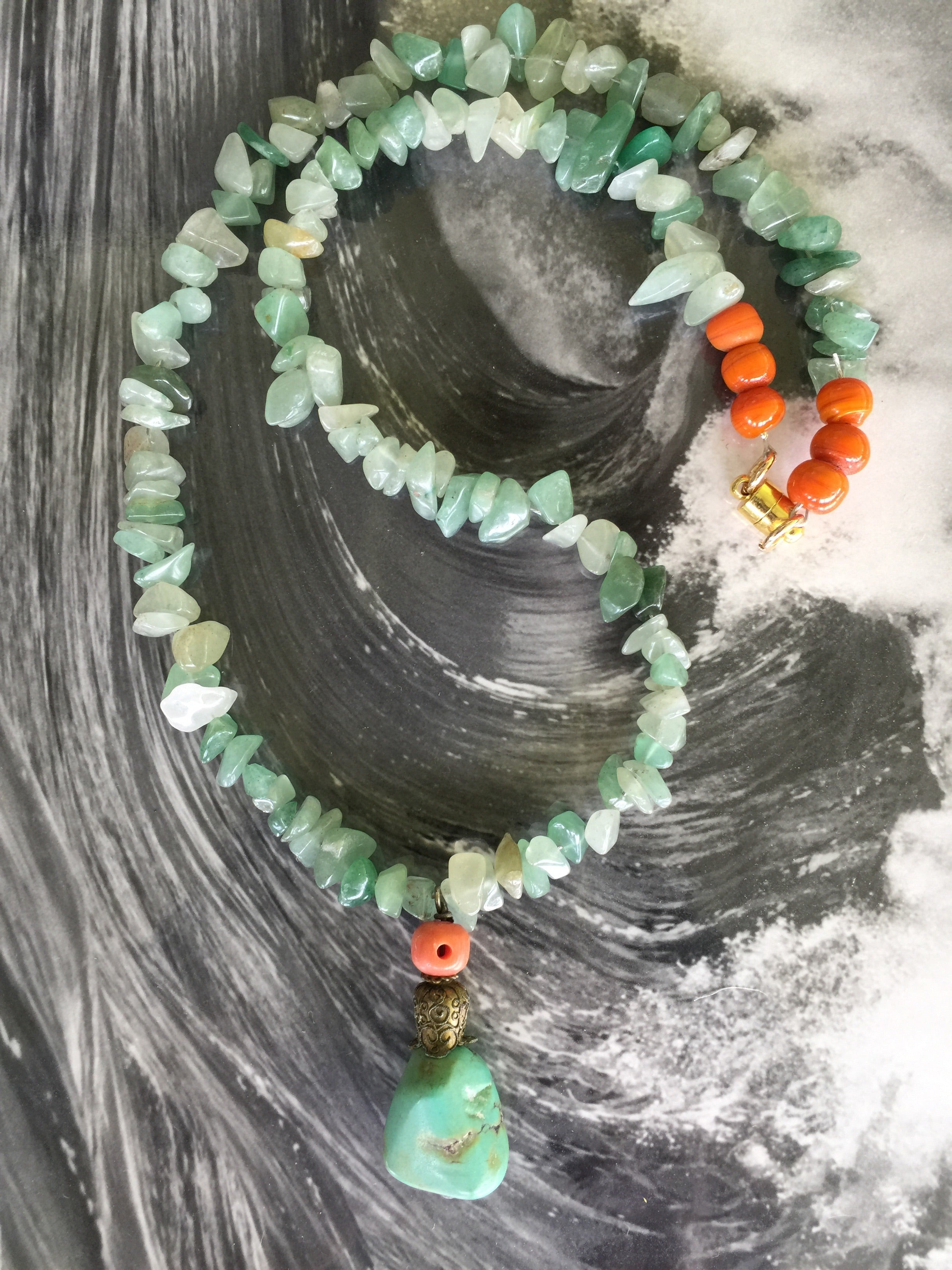 AVENTURINE CRYSTAL TURQUOISE Necklace| Vintage Tibetan Turquoise|One of a Kind| - Honorooroo Lifestyle