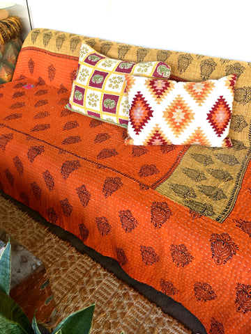 KANTHA QUILTS| Vintage throw| Blanket| Bedding|Twin