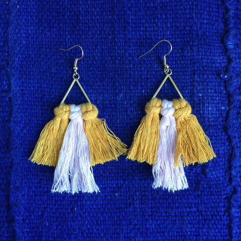 Macrame Earrings| Boho Tassel Earrings| Earring|Boho Fringe | Pink and Mustard - Honorooroo Lifestyle