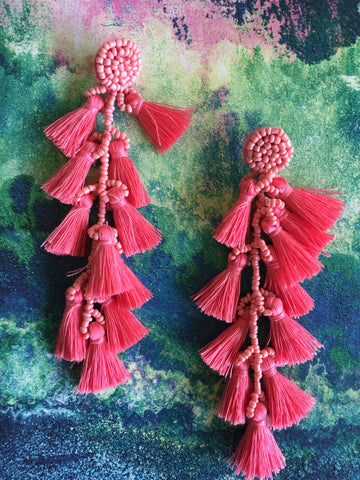 TASSEL CHANDELIER Earrings | Long Statement Boho festival | Bohemian Wedding |Coral - Honorooroo Lifestyle