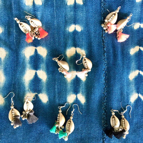 HAWAII COWRY shell earrings| Banjara silver bells| Color Tassels - Honorooroo Lifestyle