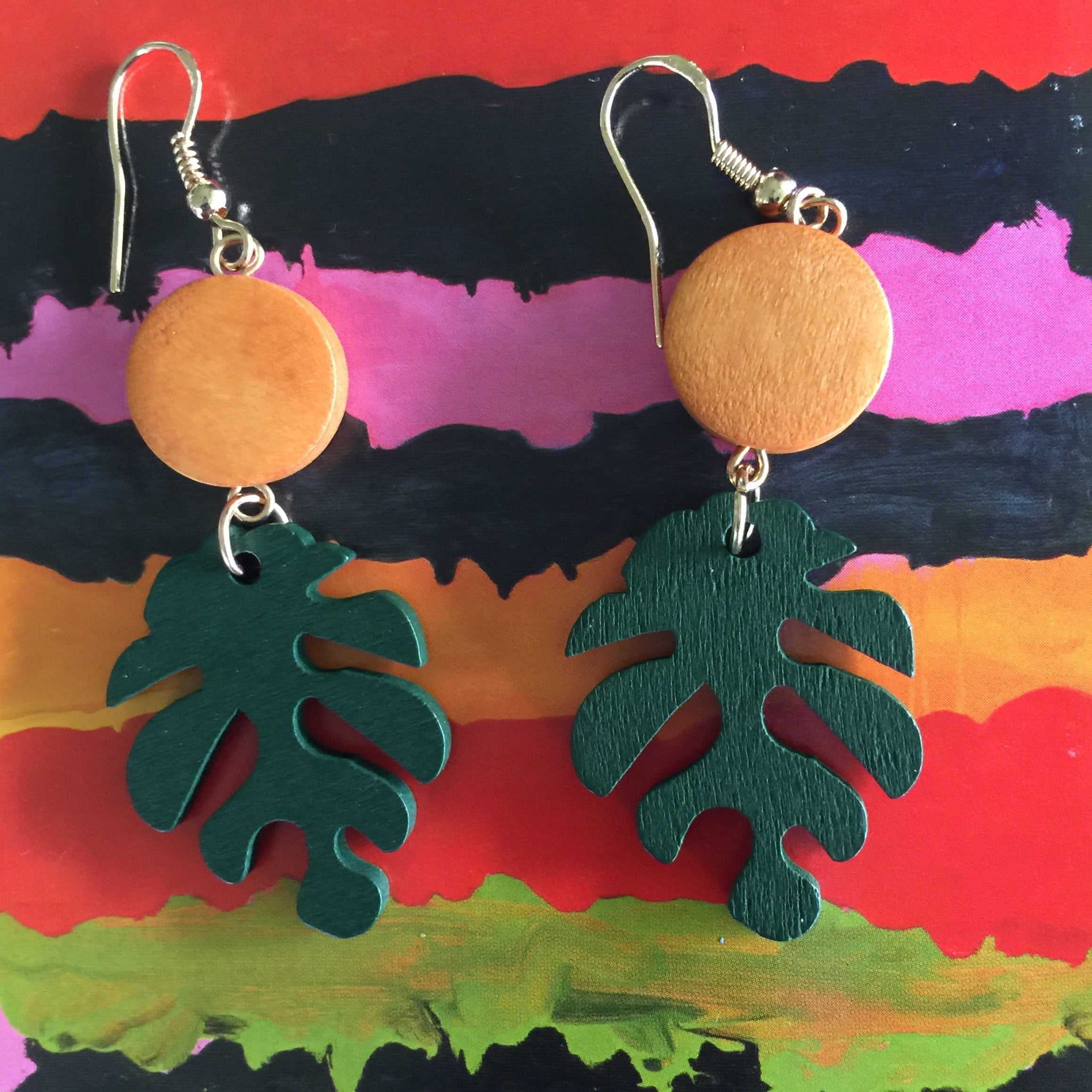 Monstera Leaf Wood stud Earrings - Honorooroo Lifestyle