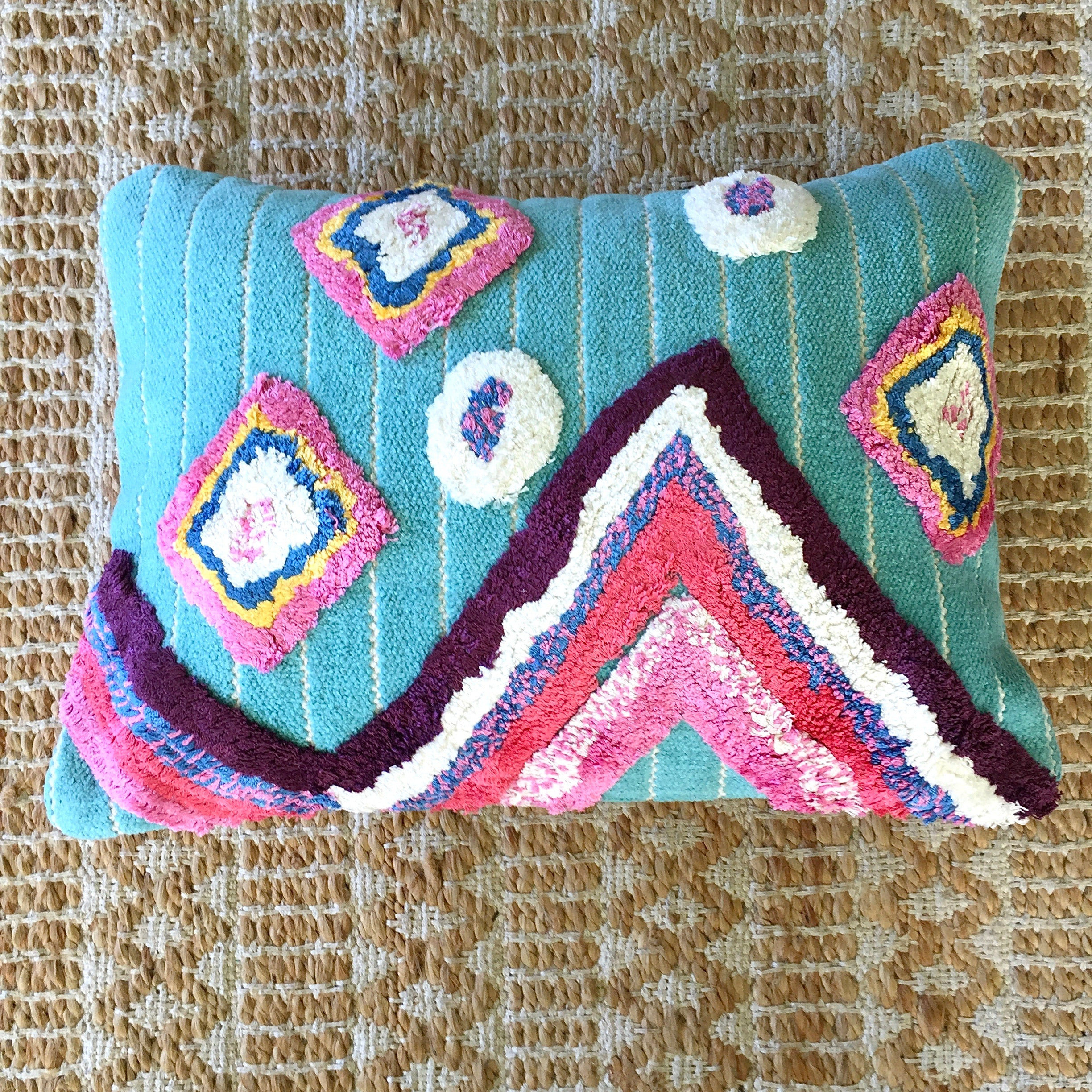 BOHO-CHIC Silk Pile Pillow|Medina| Handwoven| Textured Boho| | New Boho Cushion| 18 x 13