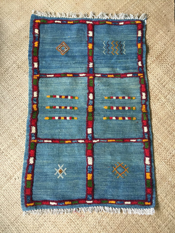 SOLD OUT‼️MOROCCAN TRIBAL KILIM| Baby Wool Vintage Flat weave| Hand - Knotted| Sumouk| DENIM|4.2'x 3.8'