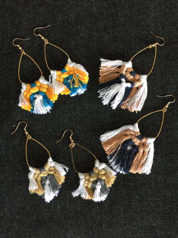 MACRAME EARRINGS| Duo Tassel Earrings| Earring|Boho Fringe | - Honorooroo Lifestyle