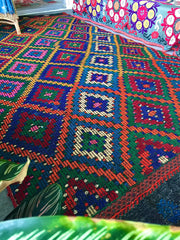 SOLD OUT‼️TURKISH KILIM RUG| Shahinaz|Vintage | Rainbow Geometric|One of a Kind| Boho Kilim|5.4 x 10.5