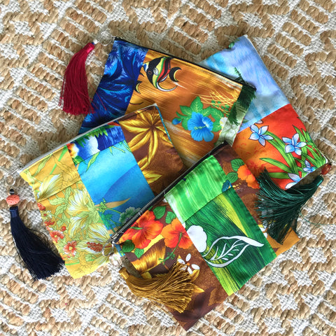 HAWAIIAN VINTAGE Silkie Zipper Pouches