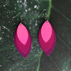 Wood Laser Cut earrings| Colorful gradient Layers| Diamond and Teardrop Style| HOT PINK - Honorooroo Lifestyle