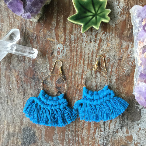 MACRAME EARRINGS| Boho Tassel Fringe|Turquoise Blue - Honorooroo Lifestyle