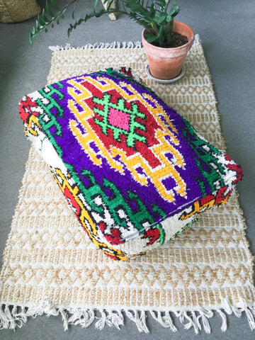 "Vintage Moroccan DOUBLE Pouf ""Gold Sahara"" - Honorooroo Lifestyle"