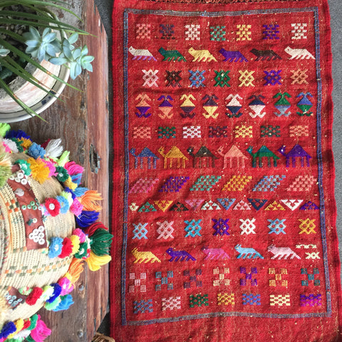 MOROCCAN TRIBAL KILIM| Wool Vintage Flat weave| YASMINE| Hand-Knotted| Sumouk| 3 x 2