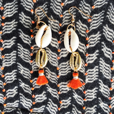 Seashell Earrings |Cowrie Shell|White|Orange - Honorooroo Lifestyle