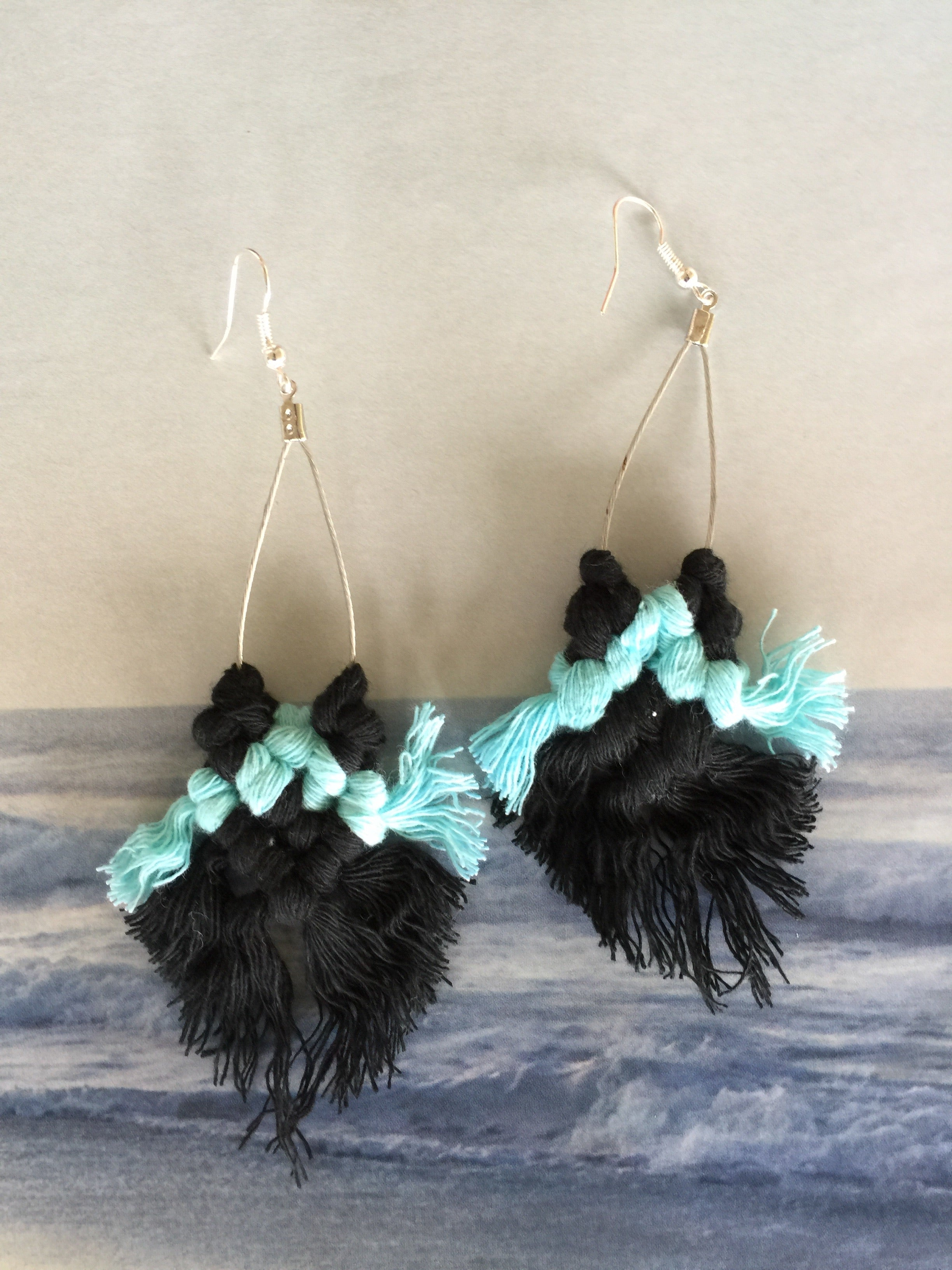 MACRAME EARRINGS| Boho Fringe Tassel | Navy and Light Blue - Honorooroo Lifestyle