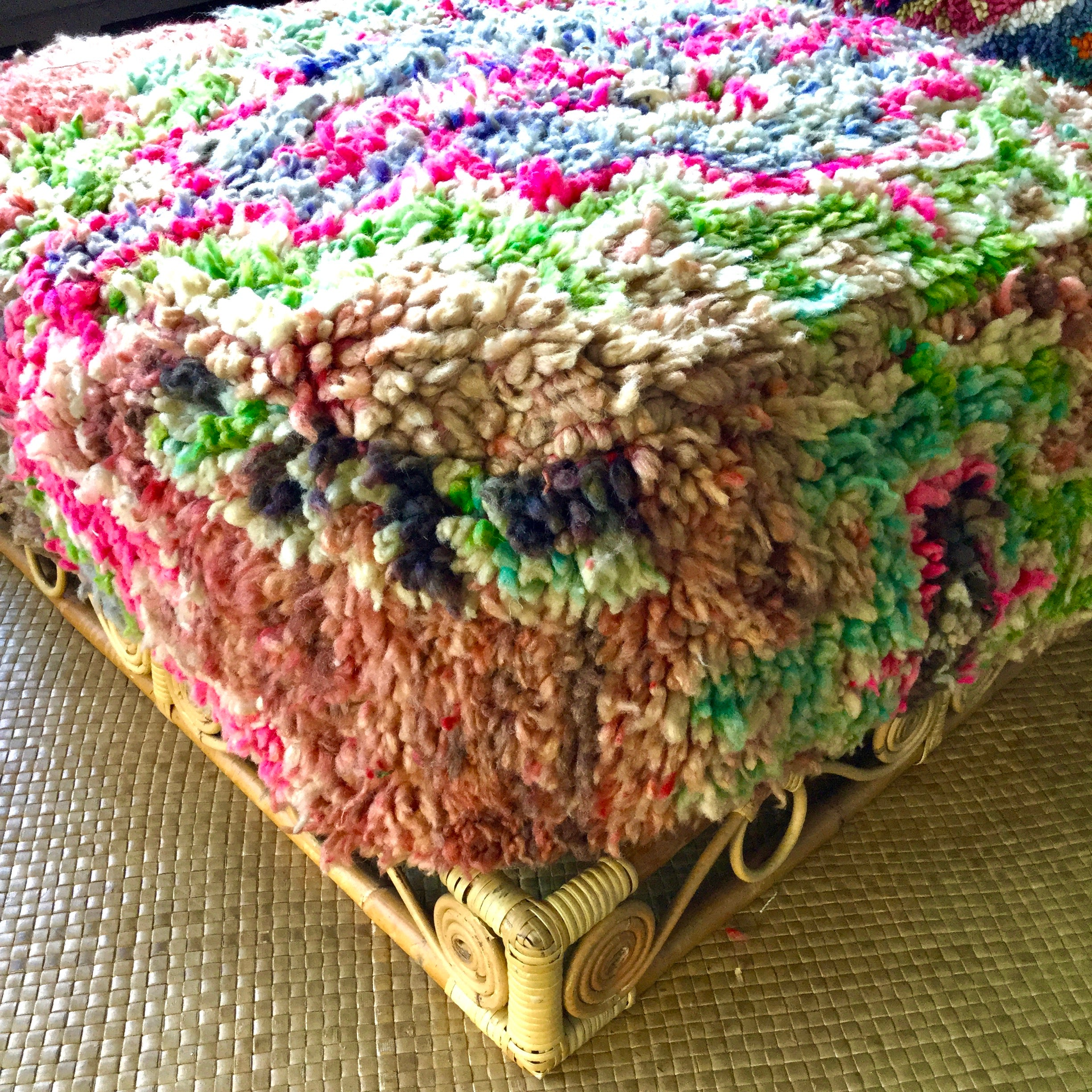 "SOLD OUT‼️Moroccan Vintage Boujad Pouf ""Sahara Pink"" - Honorooroo Lifestyle"