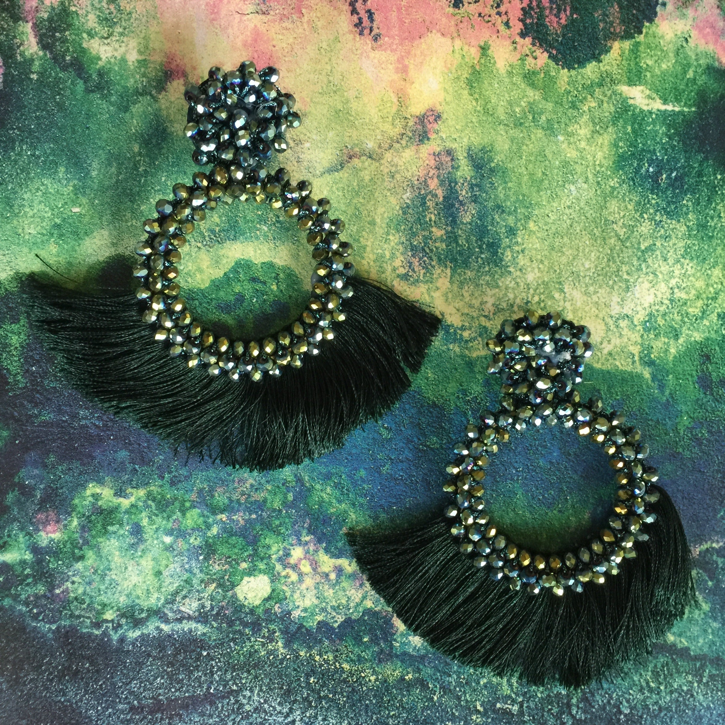 Beaded Tassel Drop Earrings |Cotton Tassel Embroidered Hoop| Emerald - Honorooroo Lifestyle