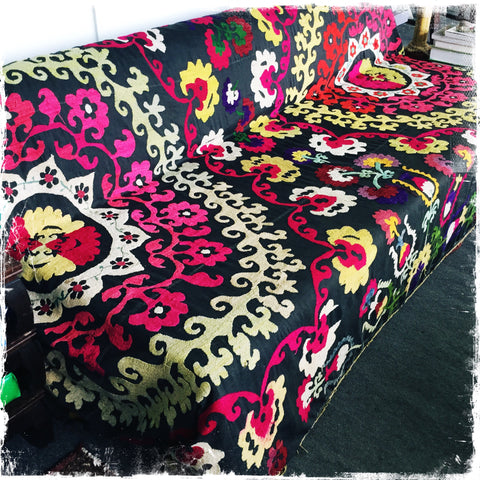 Suzani Bedspread, Antique silk Uzbek Tablecloths, Suzani Embroidery - Honorooroo Lifestyle