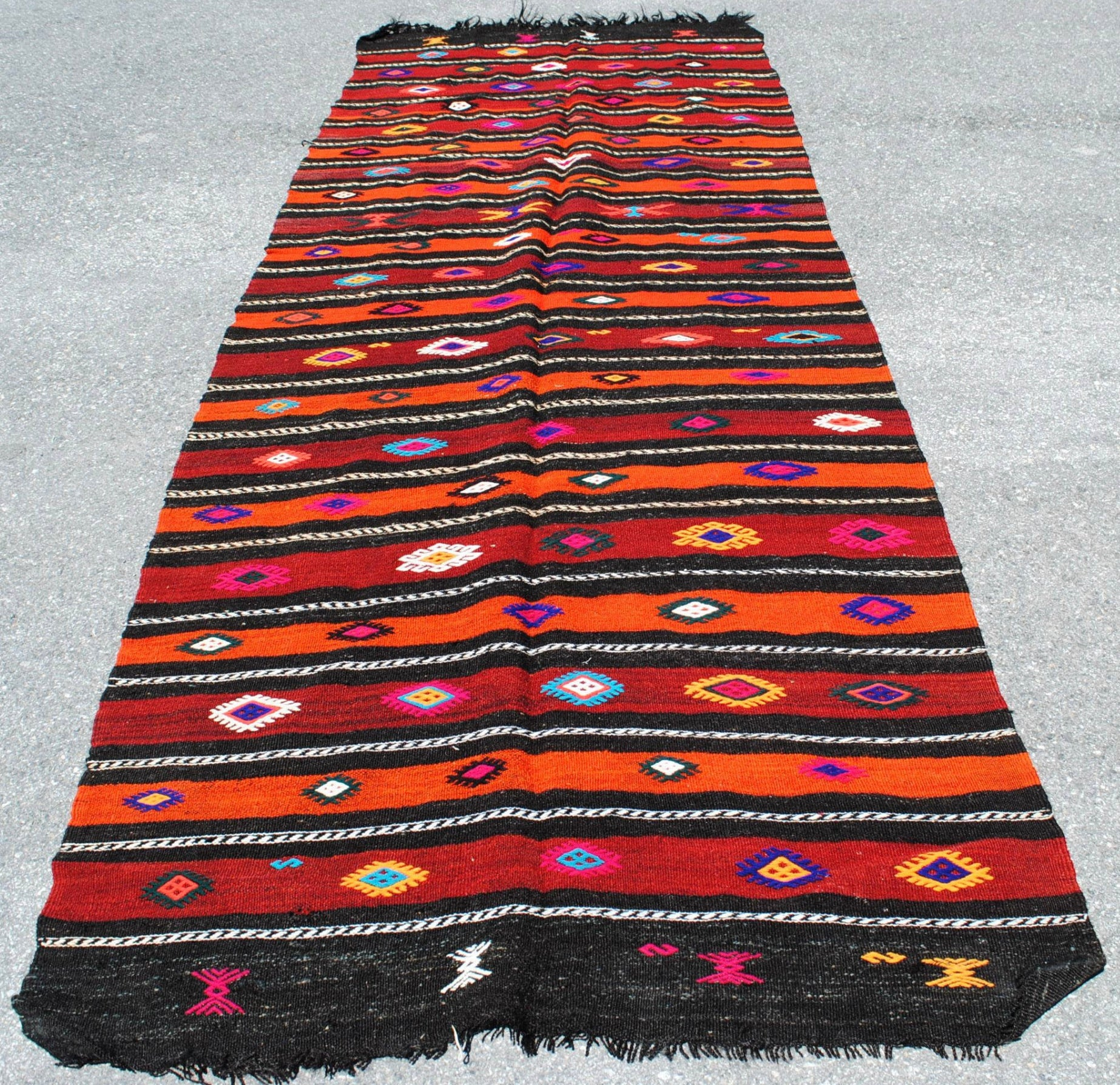 TURKISH KILIM RUG| Kadri| Vintage | Runner| Oushak Handwoven |One of a Kind| Boho Kilim|11' x 4'
