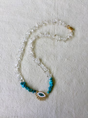 QUARTZ CRYSTAL chip Necklace TURQUOISE | Eye charm pendant| - Honorooroo Lifestyle