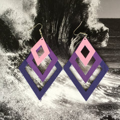 Wood Laser Cut earrings| Colorful gradient Layers| Diamond and Teardrop Style| PURPLE - Honorooroo Lifestyle