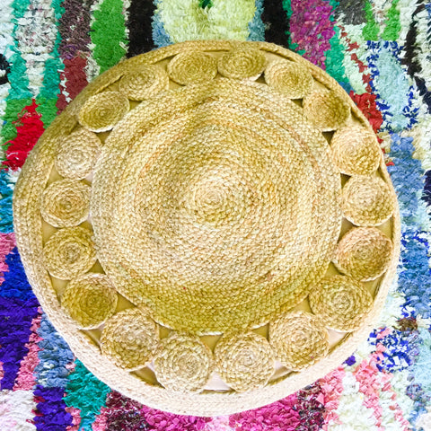 Handwoven Jute Braided Pouf| Large Round Ottoman| - Honorooroo Lifestyle
