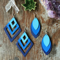 Wood Laser Cut earrings| Colorful gradient Layers| Diamond and Teardrop Style| BLUE - Honorooroo Lifestyle