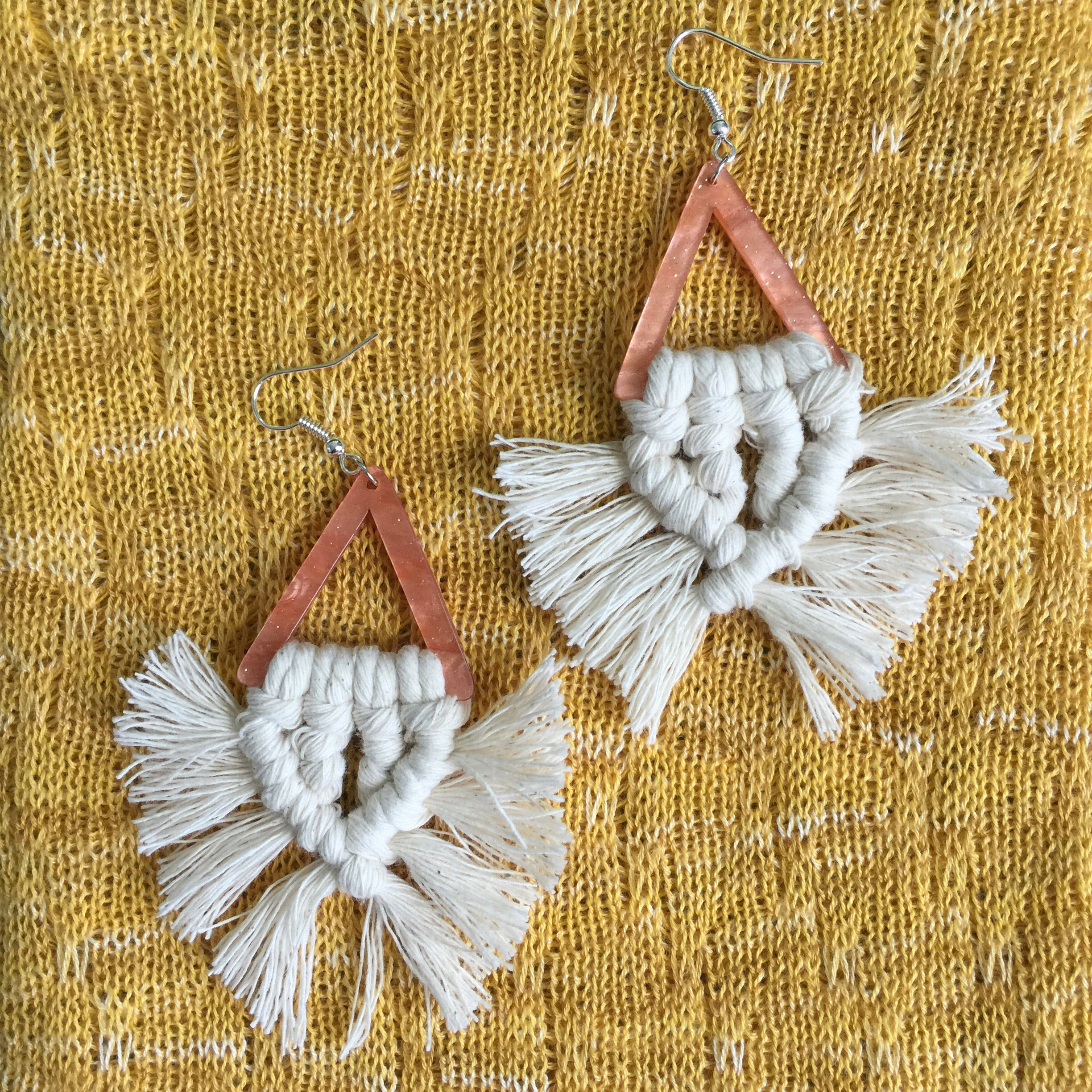 MACRAME FRINGE EARRINGS| Triangular Tortoise Shell| Boho Tassel| Cream - Honorooroo Lifestyle