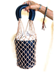 Macrame Bucket Bag| Jet Black | Summer BOHO Bag Trend| Fashion Fishnet Bag - Honorooroo Lifestyle