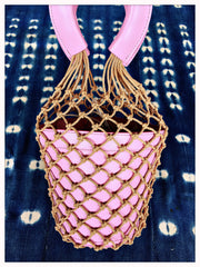 Macrame Leather Bucket Bag|Dusty Petal Pink | Summer BOHO Bag Trend| Fashion Fishnet Bag - Honorooroo Lifestyle