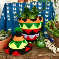 Moroccan Baskets| Pom Pom Lids| Colorful Wool Pots - Honorooroo Lifestyle
