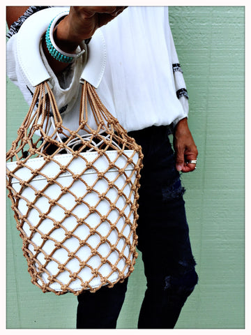 Macrame Leather Bucket Bag|Coconut White| Summer BOHO Bag Trend| Fashion Fishnet Bag - Honorooroo Lifestyle