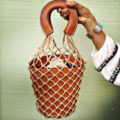SOLD OUT‼️Macrame Leather Bucket Bag| Saddle Brown| Summer BOHO Bag Trend| Fashion Fishnet Bag - Honorooroo Lifestyle